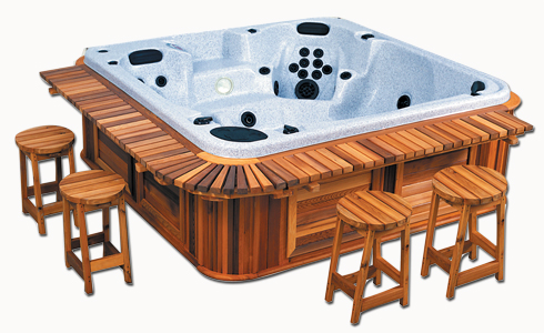 A hot tub with Cedar Wood Bar Package with Stools